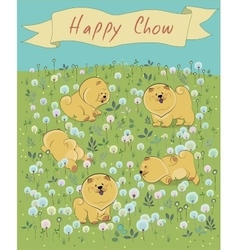 Happy pets chow-chow on the blossoming field vector