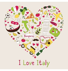 I love Italy vector image vector image