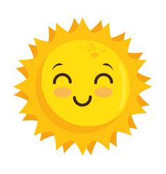 Isolated yellow kawaii sun face vector