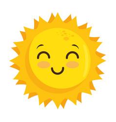 isolated yellow kawaii sun face vector image vector image