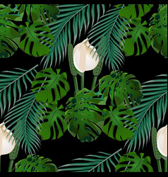 Jungle green tropical leaf monster flowers and vector