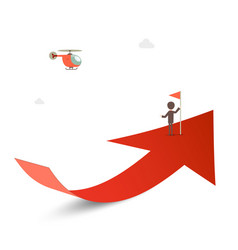 Man with flag on red arrow with helicoptere vector