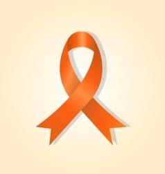 Orange awareness ribbon on orange glow background vector