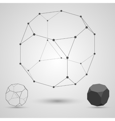 Outline of the polyhedron on a gray background vector