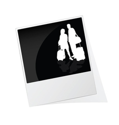 Polaroid photo frame with couple travel silhouette vector