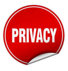 Privacy round red sticker isolated on white vector