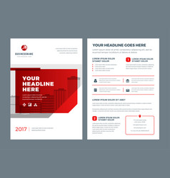 Red brochure annual report flyer design template vector