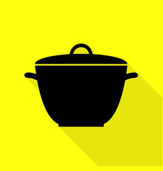 Saucepan simple sign black icon with flat style vector