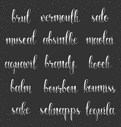 Set names of species alcohol in calligraphy vector image