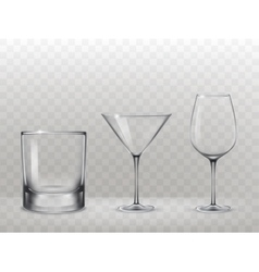 Set of glasses for alcohol in a realistic style vector image vector image