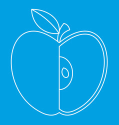 Sliced apple icon outline style vector