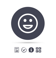 Smile icon happy face symbol vector
