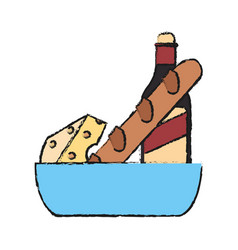 Wine cheese and bread icon vector