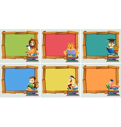Wooden frames with animals reading books vector