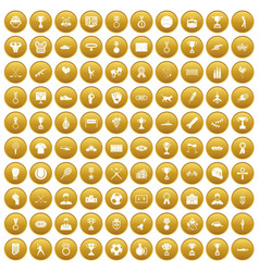100 medal icons set gold vector