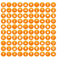 100 pumpkin icons set orange vector