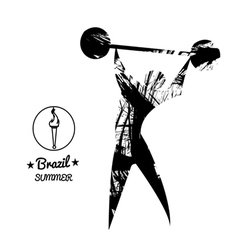 Brazil summer sport card with an abstract weightli vector