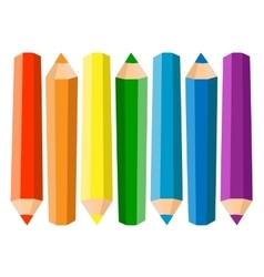 Set of seven colored pencils on white background vector