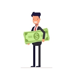 Businessman or manager with money in hand the vector