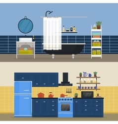 Kitchen interior and bathroom indoor view vector