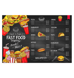 Price menu template for fast food meals vector