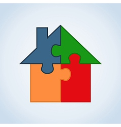 Real estate puzzle house vector image