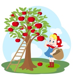 Girl with basket and apple tree vector