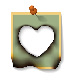 Burnt paper card with hole heart shaped vector