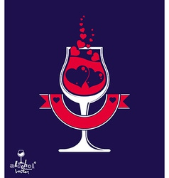 Simple wineglass with two loving hear vector