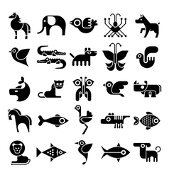 Black and white isolated animal icon set vector
