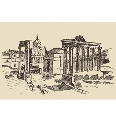 Roman forum ruins in rome landmark italy vector