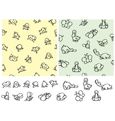 seamless pattern cute birds and elements vector image