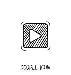 Doodle play button web icon vector