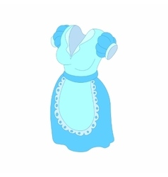 Blue dress and white apron icon cartoon style vector