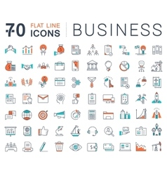 Set flat line icons business vector