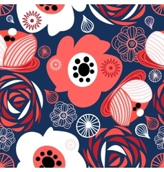 Seamless pattern of bright flowers vector