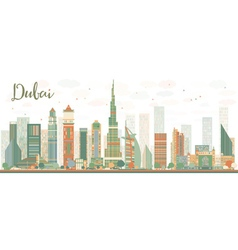 Abstract Dubai City skyline with color skyscrapers vector image
