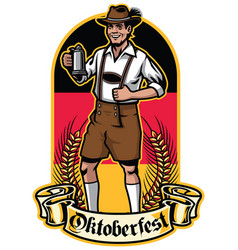 bavarian man ready to celebrate oktoberfest vector image vector image