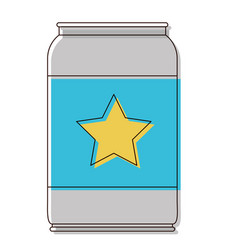 beer can with star emblem in watercolor silhouette vector image vector image