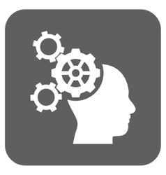 Brain mechanics flat squared icon vector