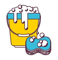 bucket with foam detergent and sponge in color vector image