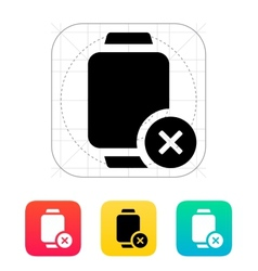 Cancel sign on smart watch icon vector