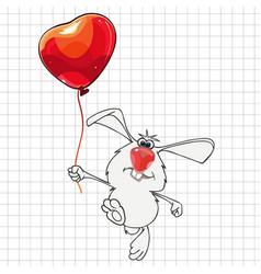 cartoon rabbit with a balloon drawn vector image vector image
