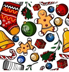 Christmas colored toy pattern vector