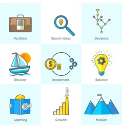 Colorful Bright Flat Line Business Icons Set with vector image