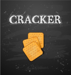 Cracker cookies isolated on blackboard vector image