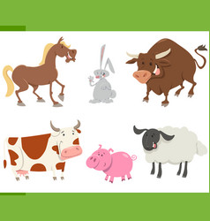 Cute farm animals cartoon set vector