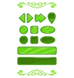Cute green game user interface vector