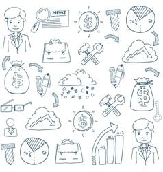 Doodle of business element set vector image