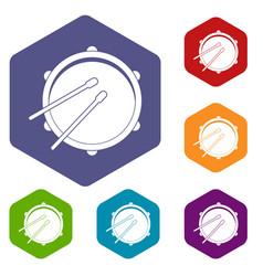 Drum icons set hexagon vector